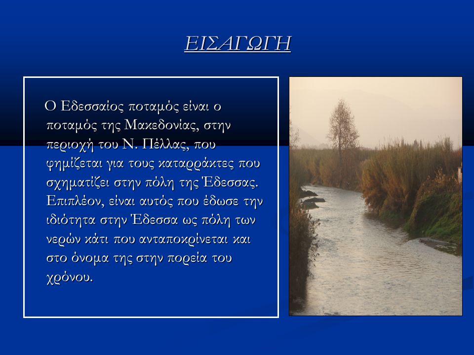 ΠΕΡΙΕΧΟΜΕΝΑ 1 ο ΚΕΦΑΛΑΙΟ 1 ο ΚΕΦΑΛΑΙΟ Πηγές-Πορεία-Διαδρομή-Υδροηλεκτρικοί σταθμοί 2 ο ΚΕΦΑΛΑΙΟ 2 ο ΚΕΦΑΛΑΙΟ Μόλυνση και επιπτώσεις στον ποταμό 3 ο ΚΕΦΑΛΑΙΟ 3 ο ΚΕΦΑΛΑΙΟ Οικονομική ανάπτυξη του Εδεσσαίου ποταμού 4 ο ΚΕΦΑΛΑΙΟ Διαμόρφωση του Εδεσσαίου ποταμού