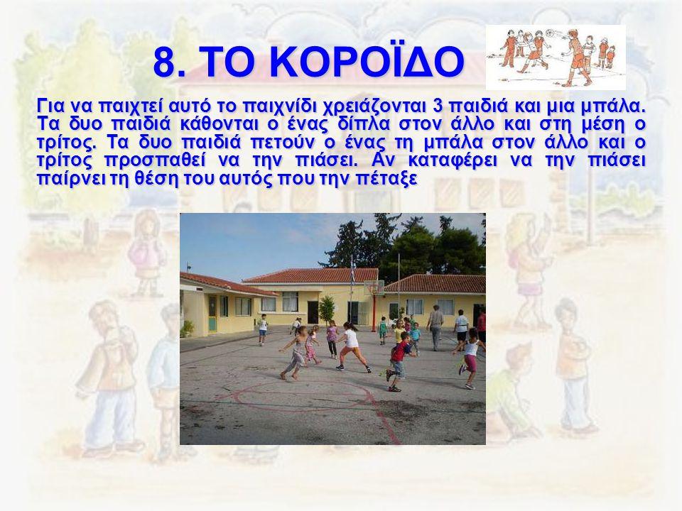 8. ΤΟ ΚΟΡΟΪΔΟ Για να παιχτεί αυτό το παιχνίδι χρειάζονται 3 παιδιά και μια μπάλα. Τα δυο παιδιά κάθονται ο ένας δίπλα στον άλλο και στη μέση ο τρίτος.