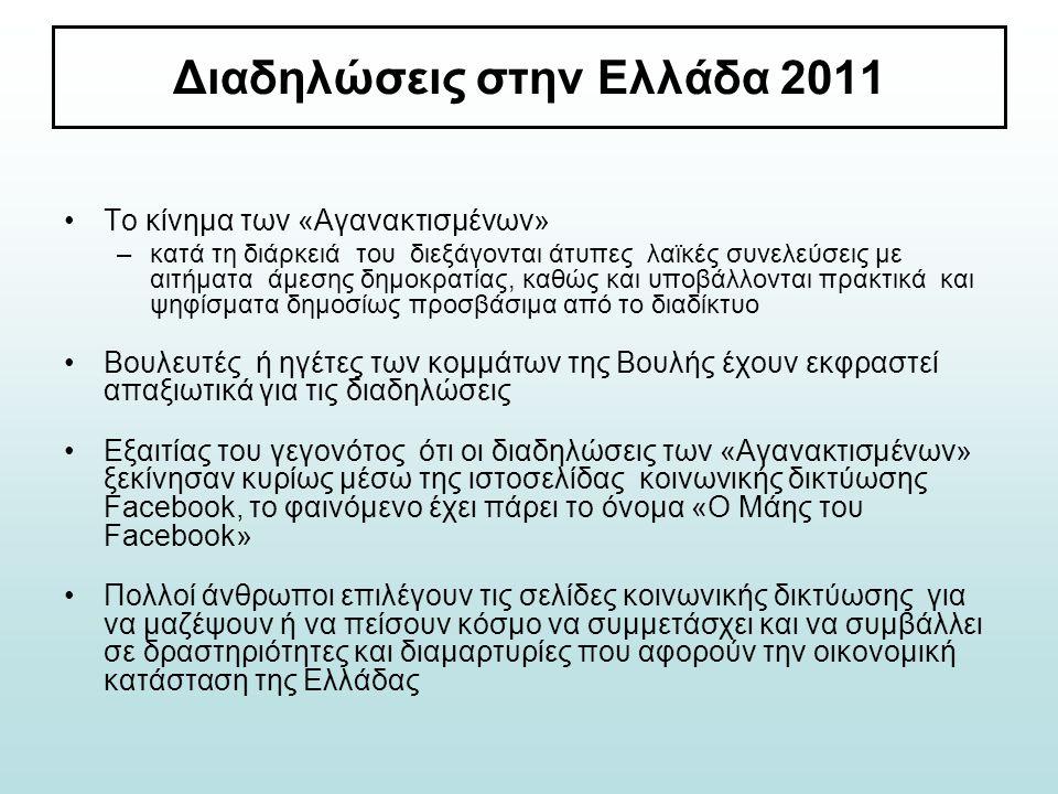 Διαδηλώσεις στην Ελλάδα 2011 Το κίνημα των «Αγανακτισμένων» –κατά τη διάρκειά του διεξάγονται άτυπες λαϊκές συνελεύσεις με αιτήματα άμεσης δημοκρατίας
