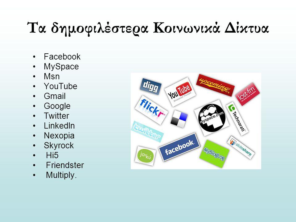 Τα δημοφιλέστερα Κοινωνικά Δίκτυα Facebook MySpace Msn YouTube Gmail Google Twitter Linkedln Nexopia Skyrock Hi5 Friendster Multiply.
