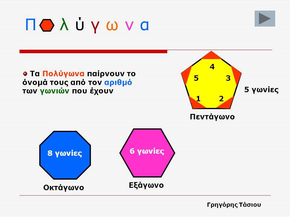 Π λ ύ γ ω ν α Πολύγωνα ονομάζονται τα γεωμετρικά σχήματα που έχουν πολλές πλευρές και γωνίες Γρηγόρης Τάσιου