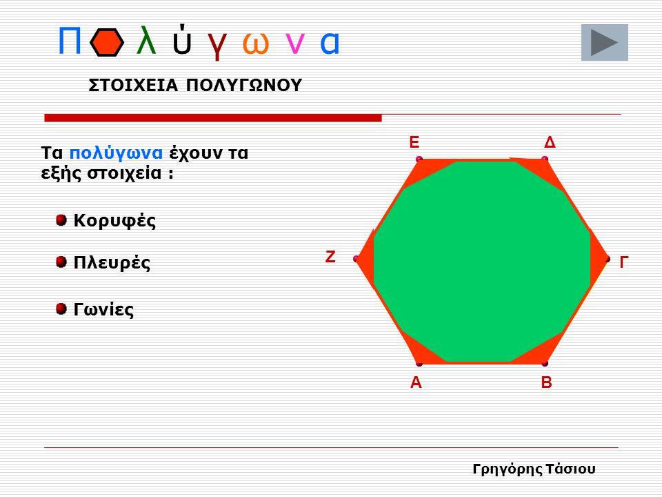 Π λ ύ γ ω ν α Τα Πολύγωνα παίρνουν το όνομά τους από τον αριθμό των γωνιών που έχουν 12 3 4 5 Πεντάγωνο 5 γωνίες 8 γωνίες Οκτάγωνο 6 γωνίες Εξάγωνο Γρ