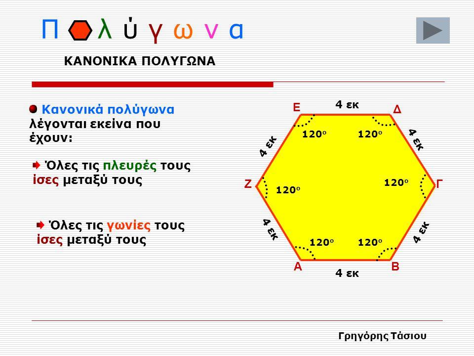ΑΒ Γ ΔΕ Ζ Π λ ύ γ ω ν α Τα πολύγωνα έχουν τα εξής στοιχεία : Κορυφές Πλευρές Γωνίες Γρηγόρης Τάσιου ΣΤΟΙΧΕΙΑ ΠΟΛΥΓΩΝΟΥ