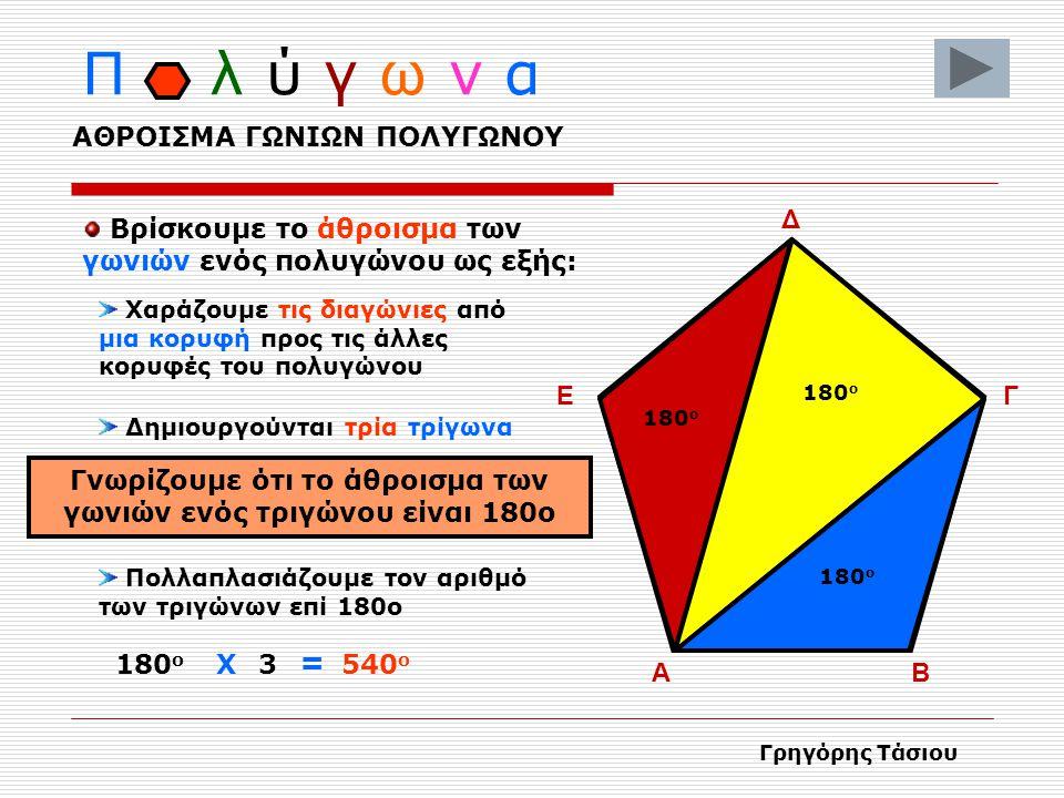 Π λ ύ γ ω ν α Το ευθύγραμμο τμήμα που ενώνει τις απέναντι κορυφές λέγεται διαγώνιος ΑΒ Γ Δ Ε Γρηγόρης Τάσιου ΔΙΑΓΩΝΙΟΙ ΠΟΛΥΓΩΝΟΥ