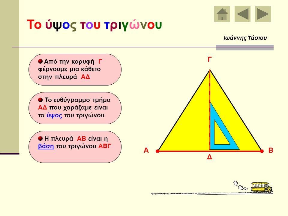 Τα κύρια στοιχεία του τριγώνου είναι : Οι τρεις πλευρές του ΑΒ, ΒΓ και ΓΑ Οι τρεις γωνίες του Α, Β και Γ Τα στοιχεία του τριγώνου Ιωάννης Τάσιου ΑΒ Γ