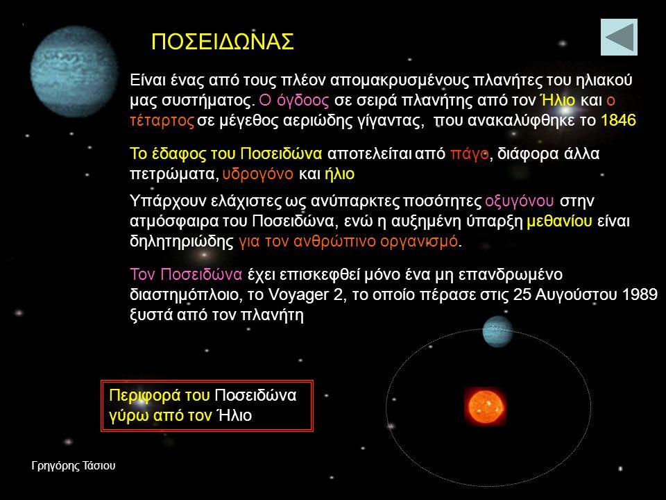 ΟΥΡΑΝΟΣ Ο τρίτος μεγαλύτερος πλανήτης του ηλιακού μας συστήματος ανακαλύφθηκε τυχαία από τον Άγγλο αστρονόμο Γουίλιαμ Χέρσελ Η μέση απόστασή του από τον Ήλιο είναι 2,87 δισεκατομμύρια χιλιόμετρα, ολοκληρώνει μια πλήρη περιφορά σε 84 χρόνια και η ημέρα του ισοδυναμεί με 17 περίπου ώρες.