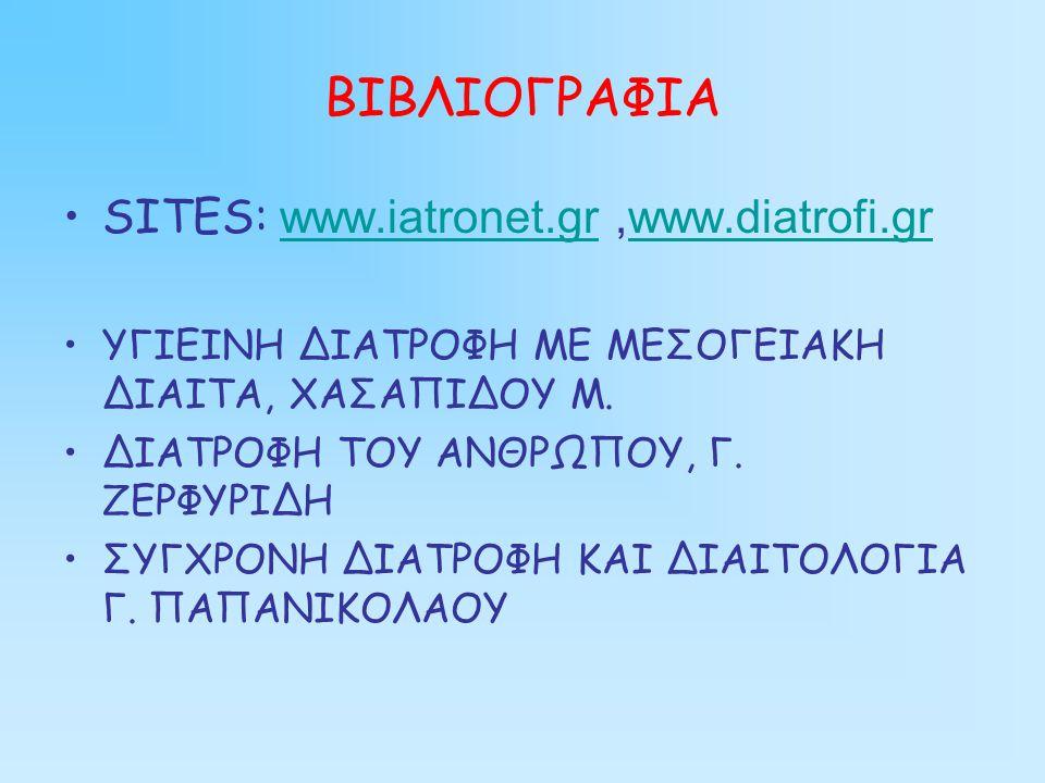 ΒΙΒΛΙΟΓΡΑΦΙΑ SITES: www.iatronet.gr,www.diatrofi.grwww.iatronet.grwww.diatrofi.gr ΥΓΙΕΙΝΗ ΔΙΑΤΡΟΦΗ ΜΕ ΜΕΣΟΓΕΙΑΚΗ ΔΙΑΙΤΑ, ΧΑΣΑΠΙΔΟΥ Μ.