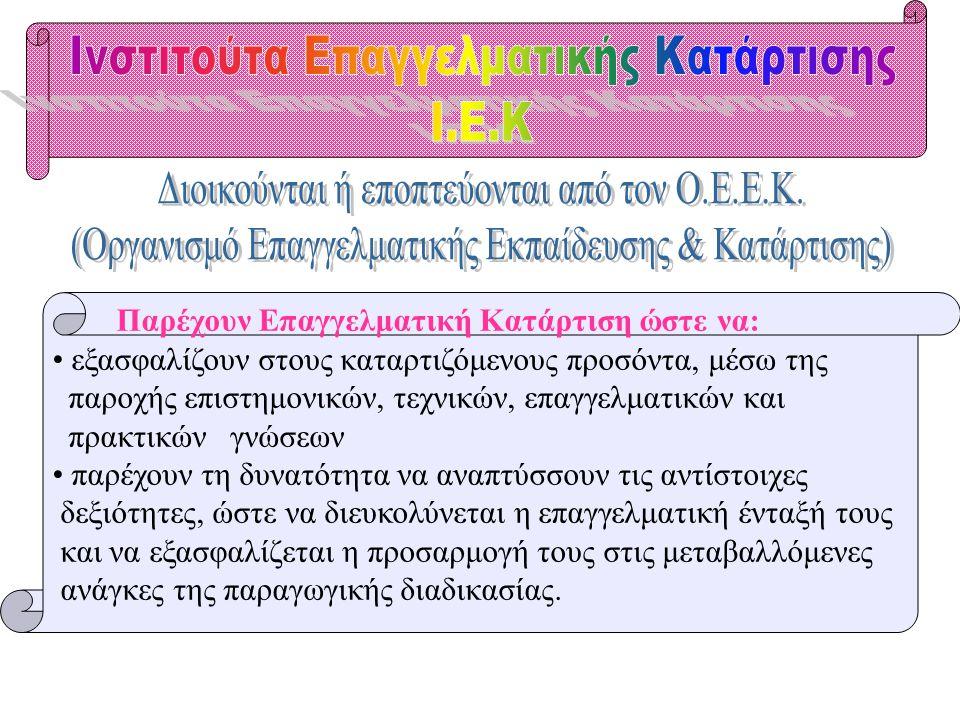 Τ.Ε.Ε. ΑΛΛΩΝ ΦΟΡΕΩΝ #Μαθητείας Ο.Α.Ε.Δ. #Εποπτείας Υπουργείου Γεωργίας #Οργανισμού Τουριστικής Εκπαίδευσης & Κατάρτισης (Ο.Τ.Ε.Κ) Κλικ για συνέχεια