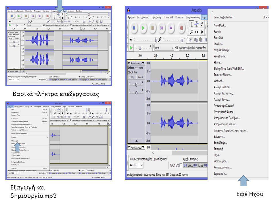 Εφέ Ήχου Εξαγωγή και δημιουργία mp3 Βασικά πλήκτρα επεξεργασίας