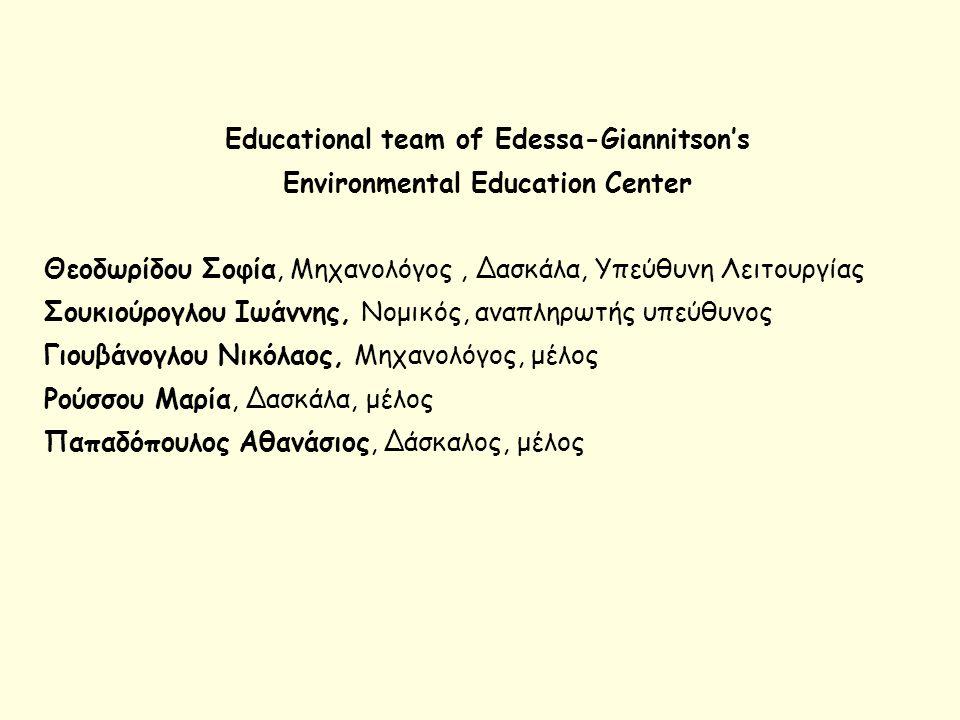 Educational team of Edessa-Giannitson's Environmental Education Center Θεοδωρίδου Σοφία, Μηχανολόγος, Δασκάλα, Υπεύθυνη Λειτουργίας Σουκιούρογλου Ιωάν