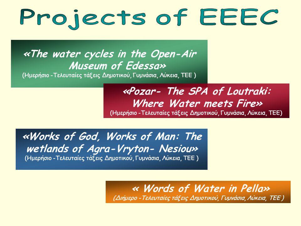 « Words of Water in Pella» (Διήμερο -Τελευταίες τάξεις Δημοτικού, Γυμνάσια, Λύκεια, ΤΕΕ ) «The water cycles in the Open-Air Museum of Edessa» (Ημερήσι