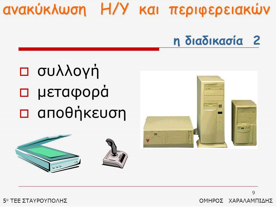 9  συλλογή  μεταφορά  αποθήκευση 5 ο ΤΕΕ ΣΤΑΥΡΟΥΠΟΛΗΣ ΟΜΗΡΟΣ ΧΑΡΑΛΑΜΠΙΔΗΣ ανακύκλωση Η/Υ και περιφερειακών η διαδικασία 2