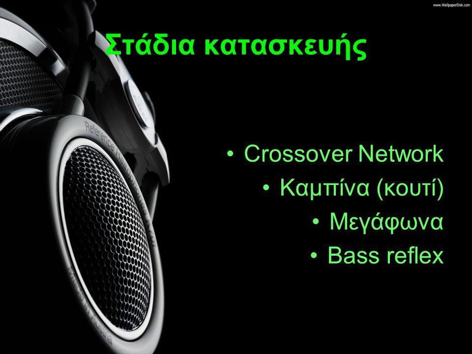 Crossover Network Το φίλτρο συχνοτήτων είναι ένα κύκλωμα το οποίο διαχωρίζει τo σήμα σε ζώνες συχνοτήτων.
