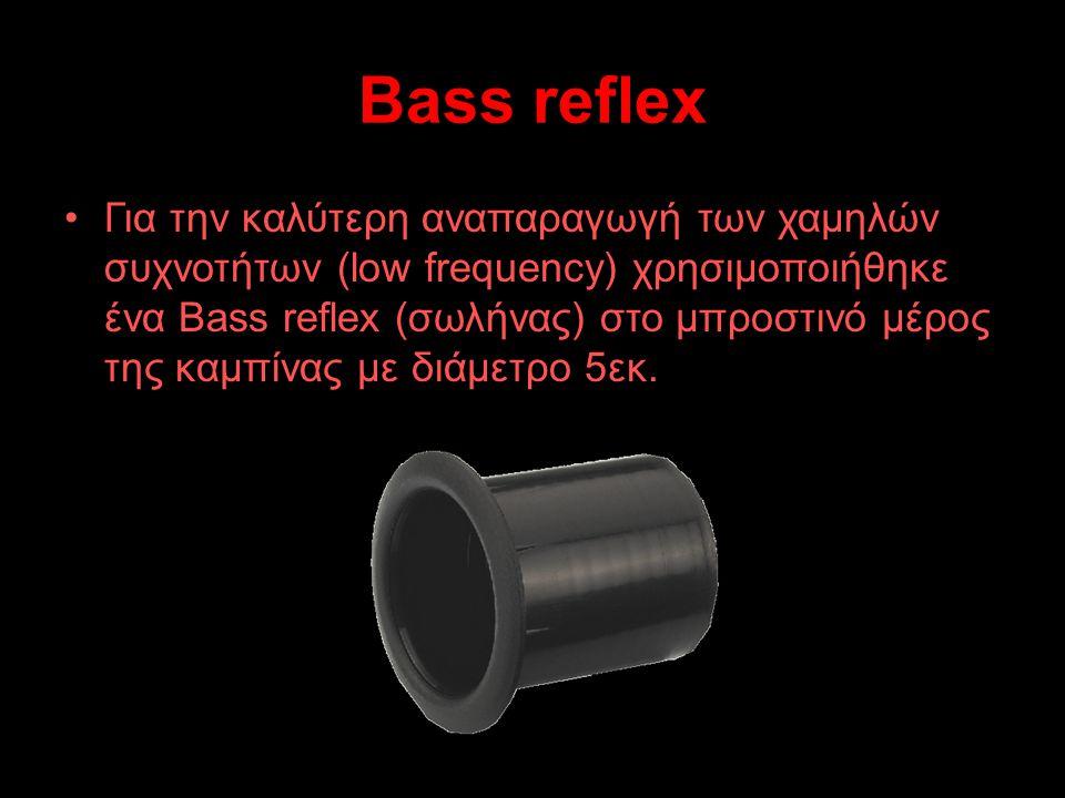 Bass reflex Για την Για την καλύτερη αναπαραγωγή των χαμηλών συχνοτήτων (low frequency) χρησιμοποιήθηκε ένα Bass reflex (σωλήνας) στο μπροστινό μέρος