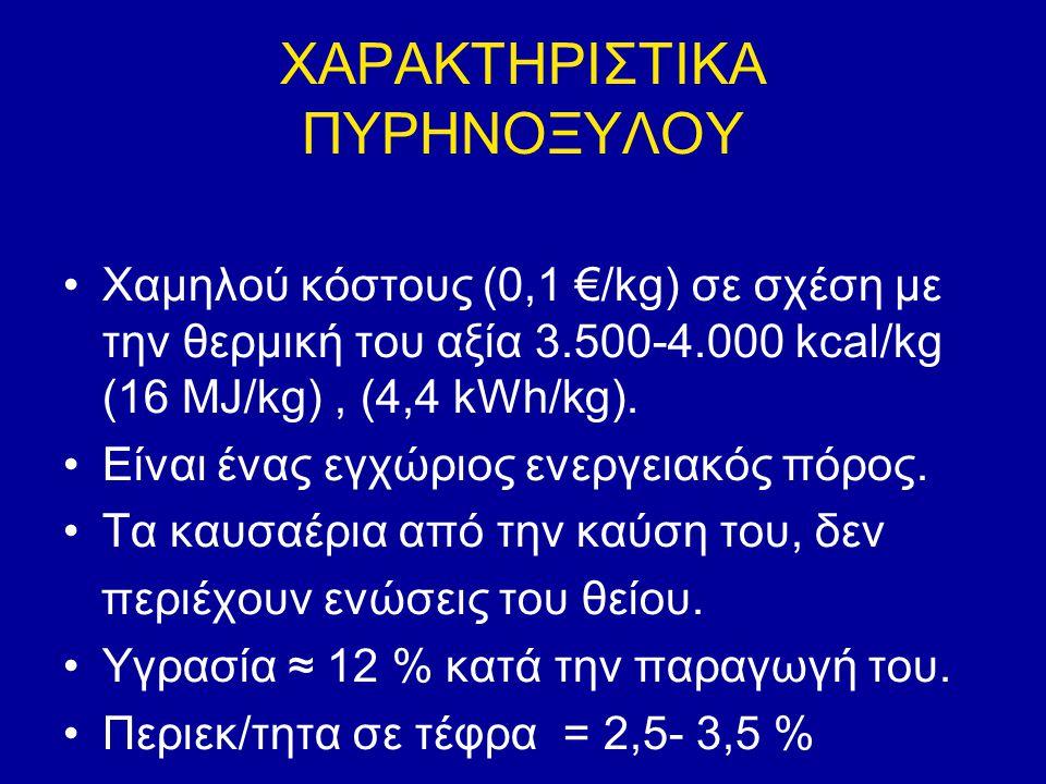 ΧΑΡΑΚΤΗΡΙΣΤΙΚΑ ΠΥΡΗΝΟΞΥΛΟΥ Χαμηλού κόστους (0,1 €/kg) σε σχέση με την θερμική του αξία 3.500-4.000 kcal/kg (16 MJ/kg), (4,4 kWh/kg). Είναι ένας εγχώρι