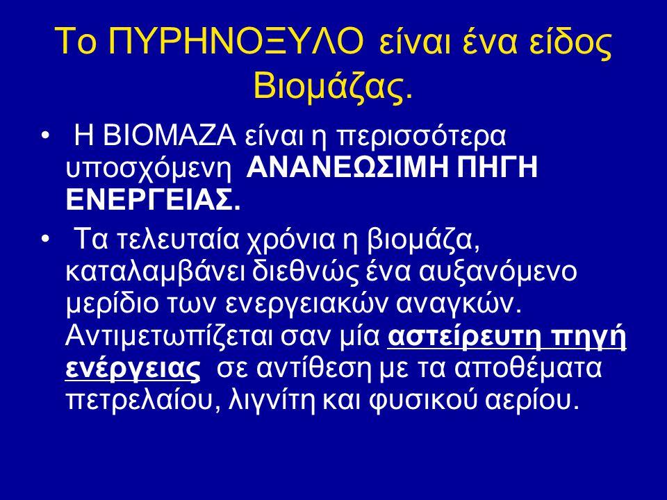Το ΠΥΡΗΝΟΞΥΛΟ είναι ένα είδος Βιομάζας. Η ΒΙΟΜΑΖΑ είναι η περισσότερα υποσχόμενη ΑΝΑΝΕΩΣΙΜΗ ΠΗΓΗ ΕΝΕΡΓΕΙΑΣ. Τα τελευταία χρόνια η βιομάζα, καταλαμβάνε
