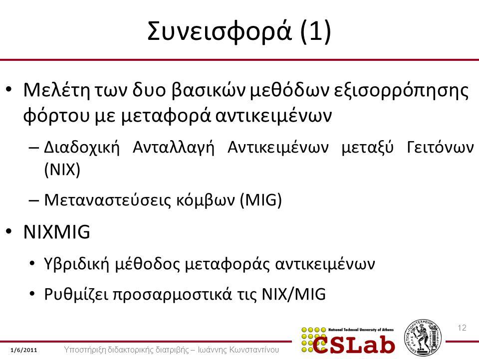 1/6/2011 Συνεισφορά (1) Μελέτη των δυο βασικών μεθόδων εξισορρόπησης φόρτου με μεταφορά αντικειμένων – Διαδοχική Ανταλλαγή Αντικειμένων μεταξύ Γειτόνων (NIX) – Μεταναστεύσεις κόμβων (MIG) NIXMIG Υβριδική μέθοδος μεταφοράς αντικειμένων Ρυθμίζει προσαρμοστικά τις NIX/MIG 12 Υποστήριξη διδακτορικής διατριβής – Ιωάννης Κωνσταντίνου