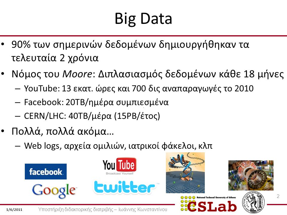 1/6/2011 Big Data 90% των σημερινών δεδομένων δημιουργήθηκαν τα τελευταία 2 χρόνια Νόμος του Moore: Διπλασιασμός δεδομένων κάθε 18 μήνες – YouTube: 13 εκατ.