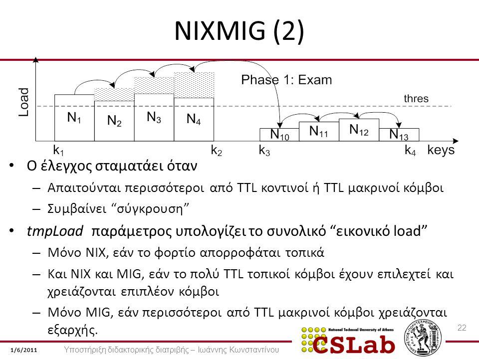 1/6/2011 NIXMIG (2) Ο έλεγχος σταματάει όταν – Απαιτούνται περισσότεροι από TTL κοντινοί ή TTL μακρινοί κόμβοι – Συμβαίνει σύγκρουση tmpLoad παράμετρος υπολογίζει το συνολικό εικονικό load – Μόνο NIX, εάν το φορτίο απορροφάται τοπικά – Και NIX και MIG, εάν το πολύ TTL τοπικοί κόμβοι έχουν επιλεχτεί και χρειάζονται επιπλέον κόμβοι – Μόνο MIG, εάν περισσότεροι από TTL μακρινοί κόμβοι χρειάζονται εξαρχής.