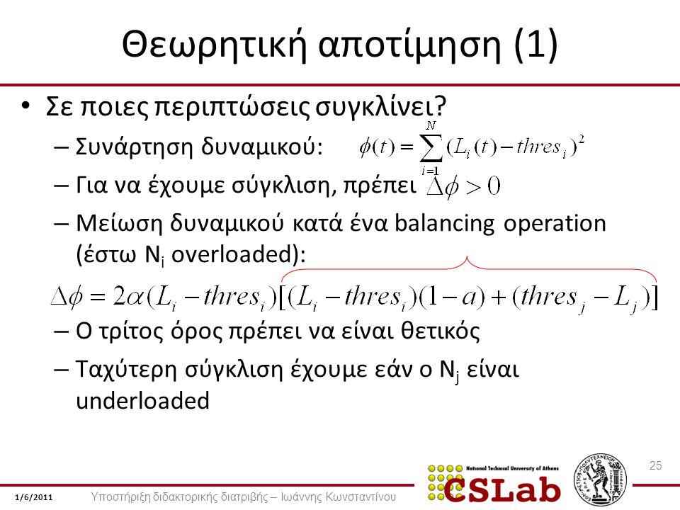 1/6/2011 Θεωρητική αποτίμηση (1) Σε ποιες περιπτώσεις συγκλίνει.