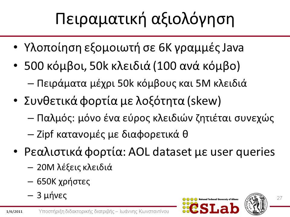 1/6/2011 Πειραματική αξιολόγηση Υλοποίηση εξομοιωτή σε 6K γραμμές Java 500 κόμβοι, 50k κλειδιά (100 ανά κόμβο) – Πειράματα μέχρι 50k κόμβους και 5M κλειδιά Συνθετικά φορτία με λοξότητα (skew) – Παλμός: μόνο ένα εύρος κλειδιών ζητιέται συνεχώς – Zipf κατανομές με διαφορετικά θ Ρεαλιστικά φορτία: AOL dataset με user queries – 20M λέξεις κλειδιά – 650K χρήστες – 3 μήνες 27 Υποστήριξη διδακτορικής διατριβής – Ιωάννης Κωνσταντίνου
