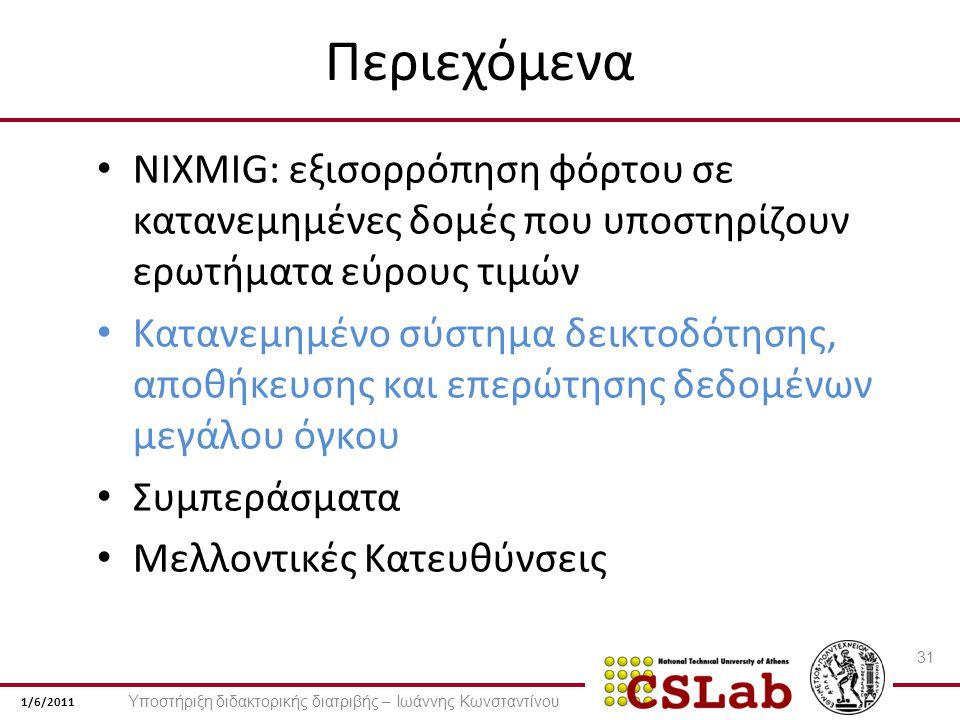 1/6/2011 Περιεχόμενα NIXMIG: εξισορρόπηση φόρτου σε κατανεμημένες δομές που υποστηρίζουν ερωτήματα εύρους τιμών Κατανεμημένο σύστημα δεικτοδότησης, αποθήκευσης και επερώτησης δεδομένων μεγάλου όγκου Συμπεράσματα Μελλοντικές Κατευθύνσεις 31 Υποστήριξη διδακτορικής διατριβής – Ιωάννης Κωνσταντίνου