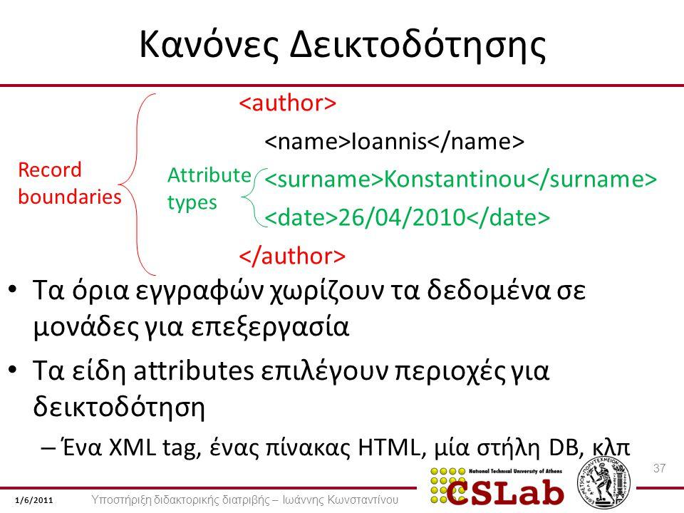 1/6/2011 Κανόνες Δεικτοδότησης Ioannis Konstantinou 26/04/2010 Attribute types Record boundaries Τα όρια εγγραφών χωρίζουν τα δεδομένα σε μονάδες για επεξεργασία Τα είδη attributes επιλέγουν περιοχές για δεικτοδότηση – Ένα XML tag, ένας πίνακας HTML, μία στήλη DB, κλπ 37 Υποστήριξη διδακτορικής διατριβής – Ιωάννης Κωνσταντίνου