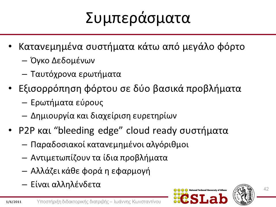 1/6/2011 Συμπεράσματα Κατανεμημένα συστήματα κάτω από μεγάλο φόρτο – Όγκο Δεδομένων – Ταυτόχρονα ερωτήματα Εξισορρόπηση φόρτου σε δύο βασικά προβλήματα – Ερωτήματα εύρους – Δημιουργία και διαχείριση ευρετηρίων P2P και bleeding edge cloud ready συστήματα – Παραδοσιακοί κατανεμημένοι αλγόριθμοι – Αντιμετωπίζουν τα ίδια προβλήματα – Αλλάζει κάθε φορά η εφαρμογή – Είναι αλληλένδετα 42 Υποστήριξη διδακτορικής διατριβής – Ιωάννης Κωνσταντίνου