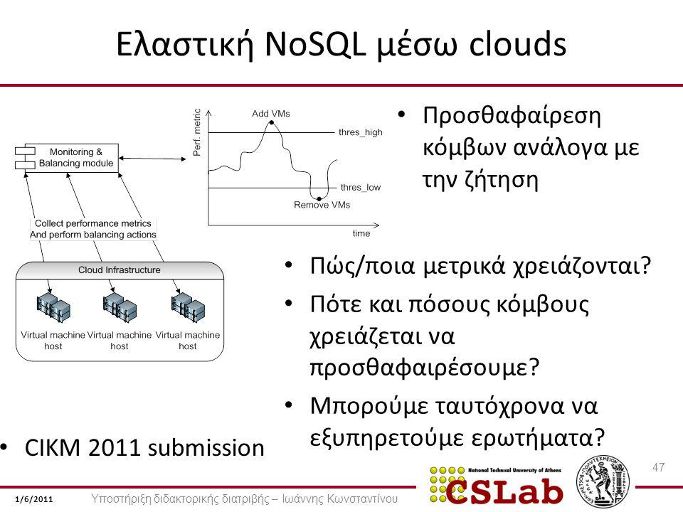 1/6/2011 Ελαστική NoSQL μέσω clouds Προσθαφαίρεση κόμβων ανάλογα με την ζήτηση 47 Πώς/ποια μετρικά χρειάζονται.