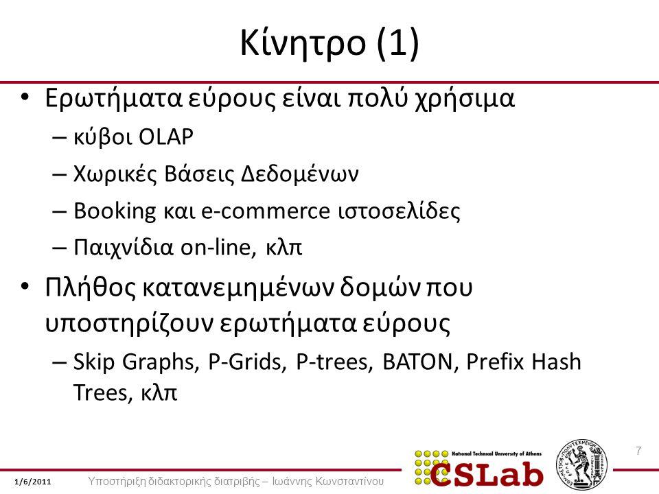 1/6/2011 Κίνητρο (1) Ερωτήματα εύρους είναι πολύ χρήσιμα – κύβοι OLAP – Χωρικές Βάσεις Δεδομένων – Booking και e-commerce ιστοσελίδες – Παιχνίδια on-line, κλπ Πλήθος κατανεμημένων δομών που υποστηρίζουν ερωτήματα εύρους – Skip Graphs, P-Grids, P-trees, BATON, Prefix Hash Trees, κλπ 7 Υποστήριξη διδακτορικής διατριβής – Ιωάννης Κωνσταντίνου