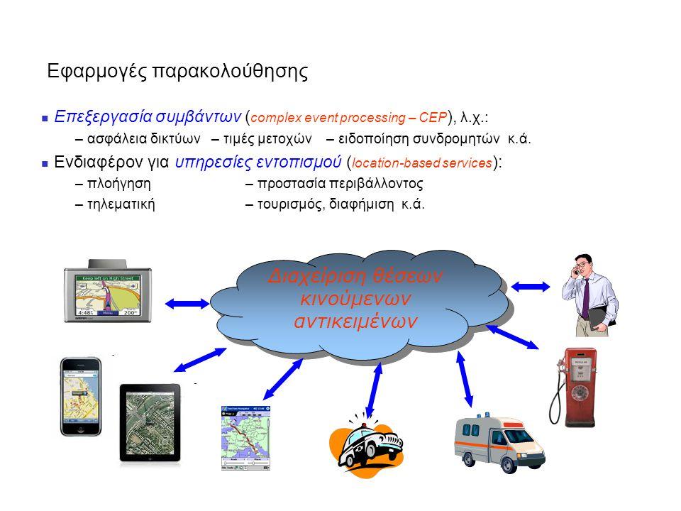 Εφαρμογές παρακολούθησης Επεξεργασία συμβάντων ( complex event processing – CEP ), λ.χ.: – ασφάλεια δικτύων – τιμές μετοχών – ειδοποίηση συνδρομητών κ.ά.