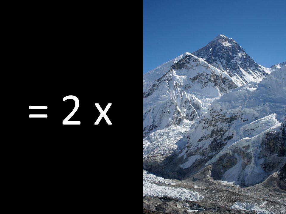 … περίπου δύο φορές το ύψος του Έβερεστ = 2 x