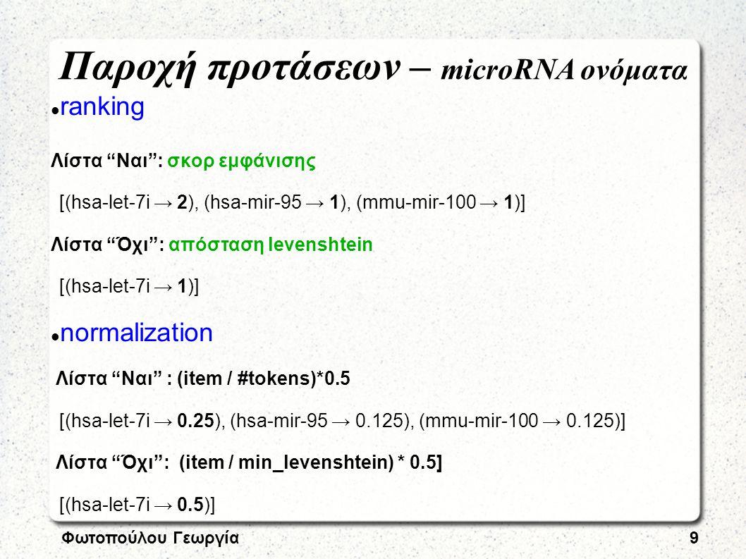 Φωτοπούλου Γεωργία9 ranking Λίστα Ναι : σκορ εμφάνισης [(hsa-let-7i → 2), (hsa-mir-95 → 1), (mmu-mir-100 → 1)] Λίστα Όχι : απόσταση levenshtein [(hsa-let-7i → 1)] normalization Λίστα Ναι : (item / #tokens)*0.5 [(hsa-let-7i → 0.25), (hsa-mir-95 → 0.125), (mmu-mir-100 → 0.125)] Λίστα Όχι : (item / min_levenshtein) * 0.5] [(hsa-let-7i → 0.5)] Παροχή προτάσεων – microRNA ονόματα