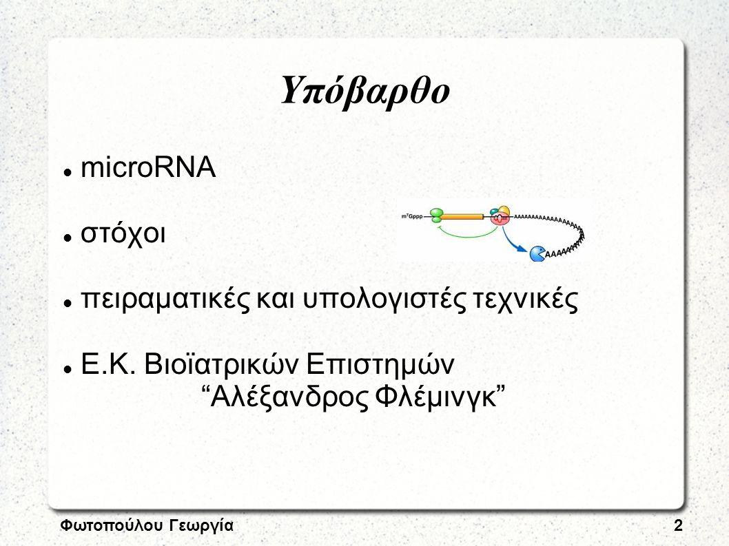 """Φωτοπούλου Γεωργία2 Υπόβαρθο microRNA στόχοι πειραματικές και υπολογιστές τεχνικές Ε.Κ. Βιοϊατρικών Επιστημών """"Αλέξανδρος Φλέμινγκ"""""""