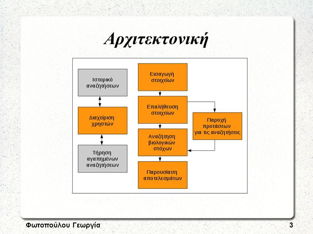 Φωτοπούλου Γεωργία4 Αποφάσεις Ανάλυση απαιτήσεων → Περιπτώσεις χρήσης Σχεδιασμός → Model-View-Controller (MVC) Yλοποίηση → Apache+MySQL+PHP+Yii Αξιολόγηση/Έλεγχος → Σενάρια εκτέλεσης