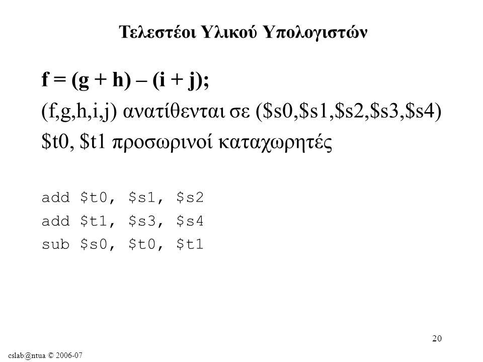 cslab@ntua © 2006-07 20 f = (g + h) – (i + j); (f,g,h,i,j) ανατίθενται σε ($s0,$s1,$s2,$s3,$s4) $t0, $t1 προσωρινοί καταχωρητές add $t0, $s1, $s2 add $t1, $s3, $s4 sub $s0, $t0, $t1 Τελεστέοι Υλικού Υπολογιστών