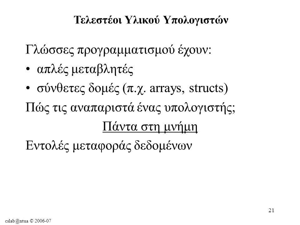 cslab@ntua © 2006-07 21 Γλώσσες προγραμματισμού έχουν: απλές μεταβλητές σύνθετες δομές (π.χ.