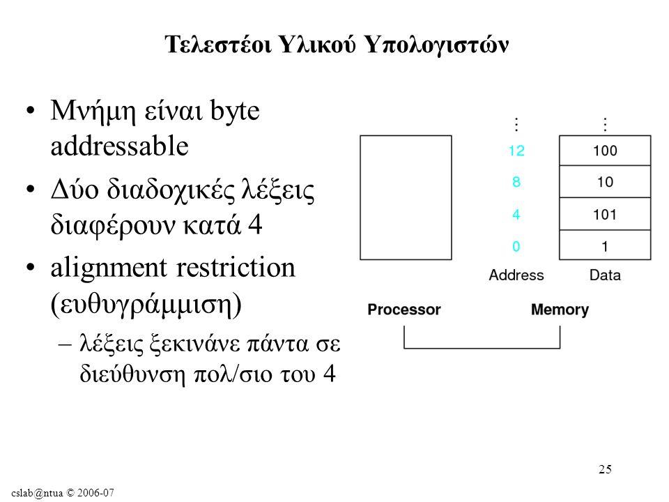 cslab@ntua © 2006-07 25 Μνήμη είναι byte addressable Δύο διαδοχικές λέξεις διαφέρουν κατά 4 alignment restriction (ευθυγράμμιση) –λέξεις ξεκινάνε πάντα σε διεύθυνση πολ/σιο του 4 Τελεστέοι Υλικού Υπολογιστών