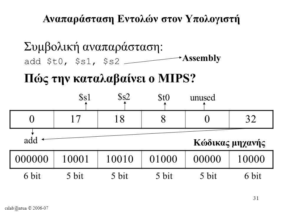 cslab@ntua © 2006-07 31 Αναπαράσταση Εντολών στον Υπολογιστή Συμβολική αναπαράσταση: add $t0, $s1, $s2 Πώς την καταλαβαίνει ο MIPS.