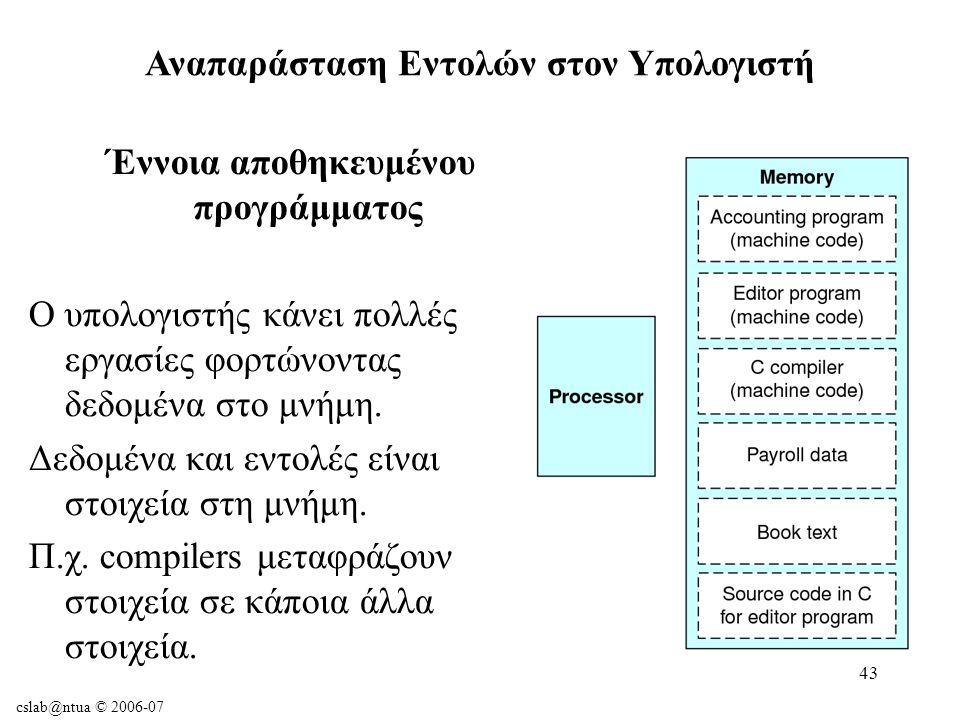 cslab@ntua © 2006-07 43 Αναπαράσταση Εντολών στον Υπολογιστή Έννοια αποθηκευμένου προγράμματος Ο υπολογιστής κάνει πολλές εργασίες φορτώνοντας δεδομένα στο μνήμη.