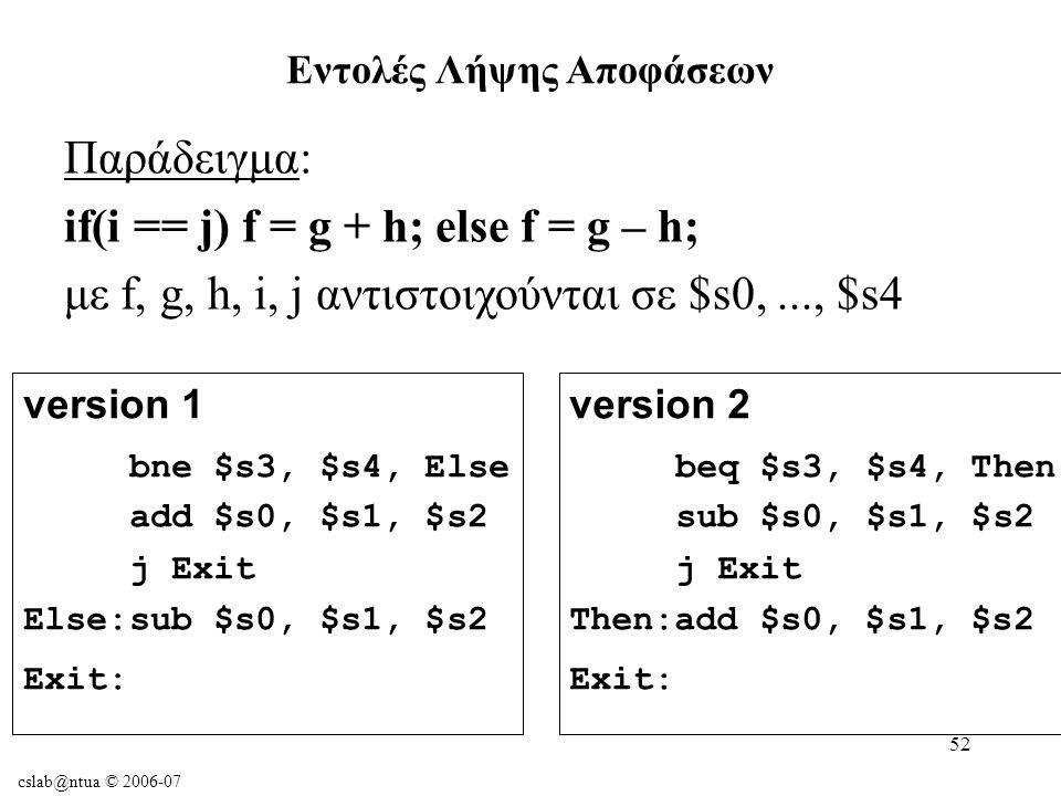 cslab@ntua © 2006-07 52 Παράδειγμα: if(i == j) f = g + h; else f = g – h; με f, g, h, i, j αντιστοιχούνται σε $s0,..., $s4 Εντολές Λήψης Αποφάσεων version 1 bne $s3, $s4, Else add $s0, $s1, $s2 j Exit Else:sub $s0, $s1, $s2 Exit: version 2 beq $s3, $s4, Then sub $s0, $s1, $s2 j Exit Then:add $s0, $s1, $s2 Exit: