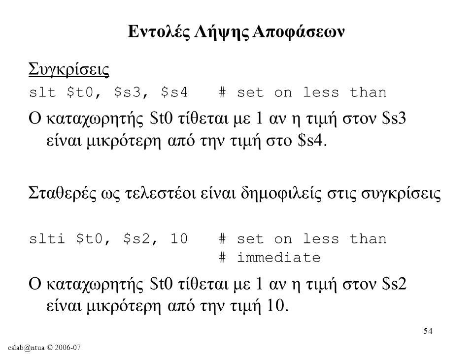 cslab@ntua © 2006-07 54 Συγκρίσεις slt $t0, $s3, $s4 # set on less than Ο καταχωρητής $t0 τίθεται με 1 αν η τιμή στον $s3 είναι μικρότερη από την τιμή στο $s4.