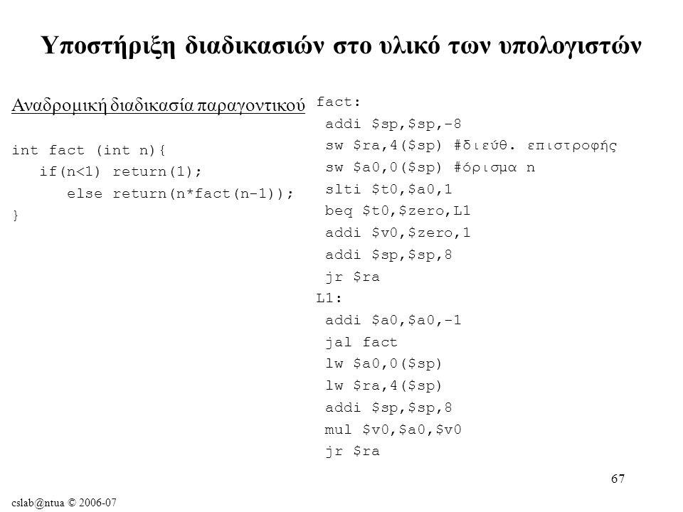 cslab@ntua © 2006-07 67 Υποστήριξη διαδικασιών στο υλικό των υπολογιστών fact: addi $sp,$sp,-8 sw $ra,4($sp) #διεύθ.