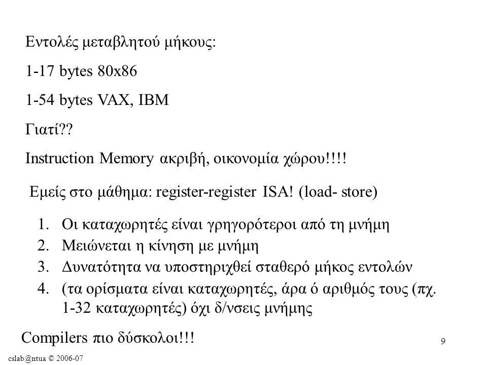 cslab@ntua © 2006-07 40 Παράδειγμα: $t1 περιέχει base address πίνακα Α $s2 αντιστοιχίζεται στη μεταβλητή h Μεταγλωττίστε το A[300] = h + A[300]; lw $t0, 1200($t1) add $t0, $s2, $t0 sw $t0, 1200($t1) Αναπαράσταση Εντολών στον Υπολογιστή