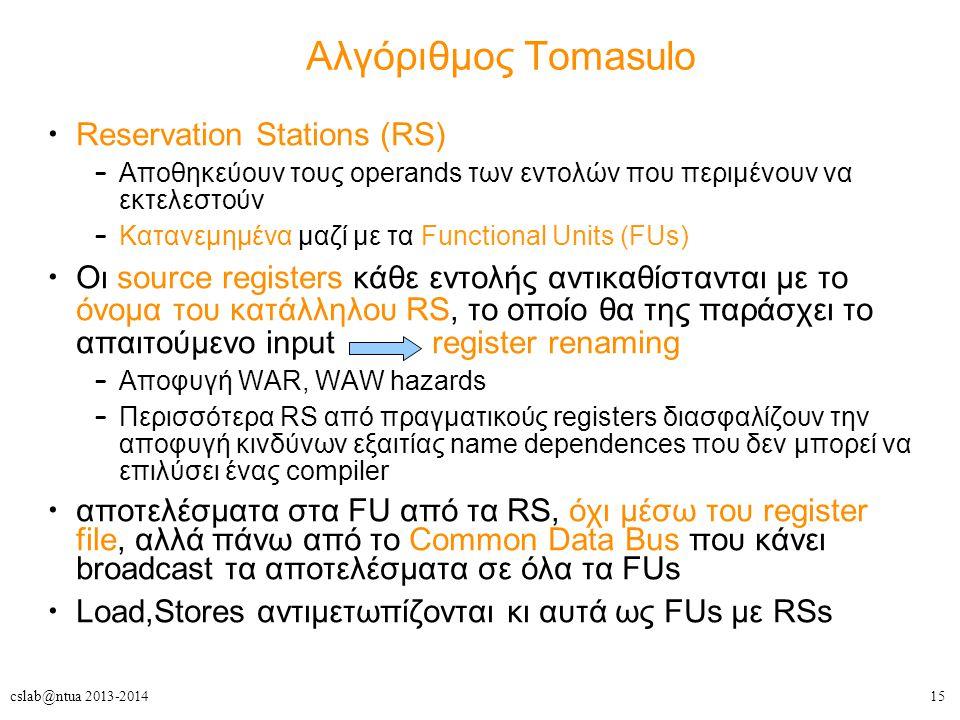 15cslab@ntua 2013-2014 Αλγόριθμος Tomasulo Reservation Stations (RS) – Αποθηκεύουν τους operands των εντολών που περιμένουν να εκτελεστούν – Κατανεμημ