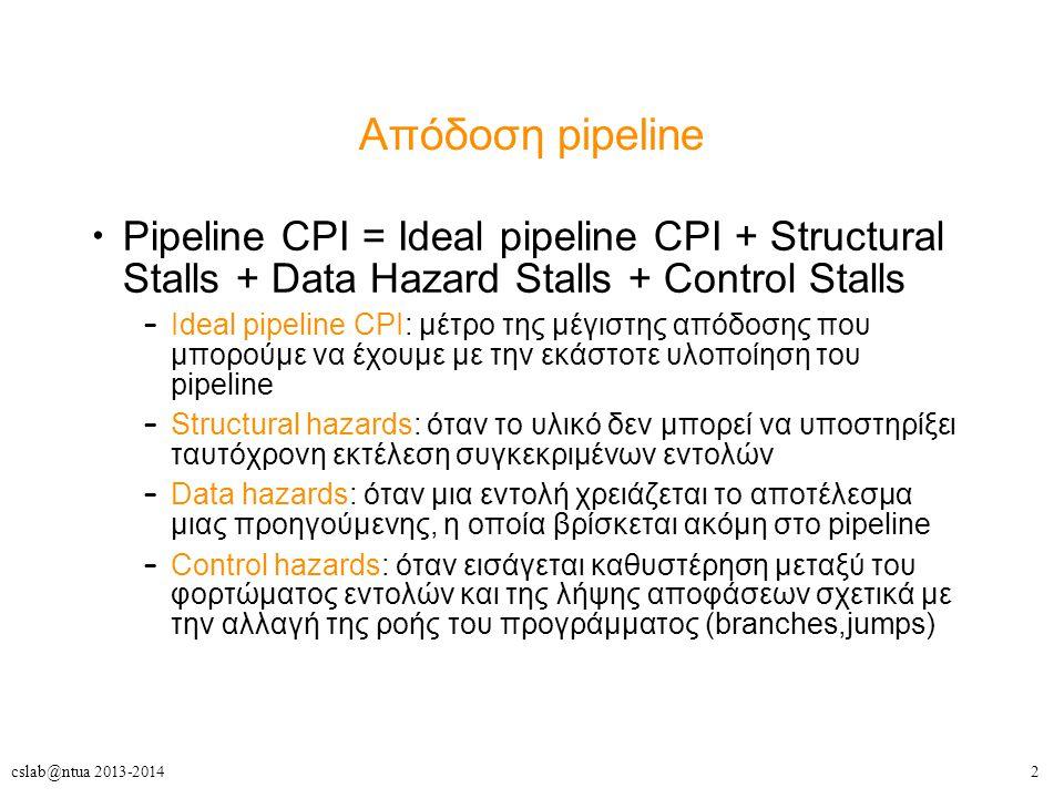 2cslab@ntua 2013-2014 Απόδοση pipeline Pipeline CPI = Ideal pipeline CPI + Structural Stalls + Data Hazard Stalls + Control Stalls – Ideal pipeline CPI: μέτρο της μέγιστης απόδοσης που μπορούμε να έχουμε με την εκάστοτε υλοποίηση του pipeline – Structural hazards: όταν το υλικό δεν μπορεί να υποστηρίξει ταυτόχρονη εκτέλεση συγκεκριμένων εντολών – Data hazards: όταν μια εντολή χρειάζεται το αποτέλεσμα μιας προηγούμενης, η οποία βρίσκεται ακόμη στο pipeline – Control hazards: όταν εισάγεται καθυστέρηση μεταξύ του φορτώματος εντολών και της λήψης αποφάσεων σχετικά με την αλλαγή της ροής του προγράμματος (branches,jumps)