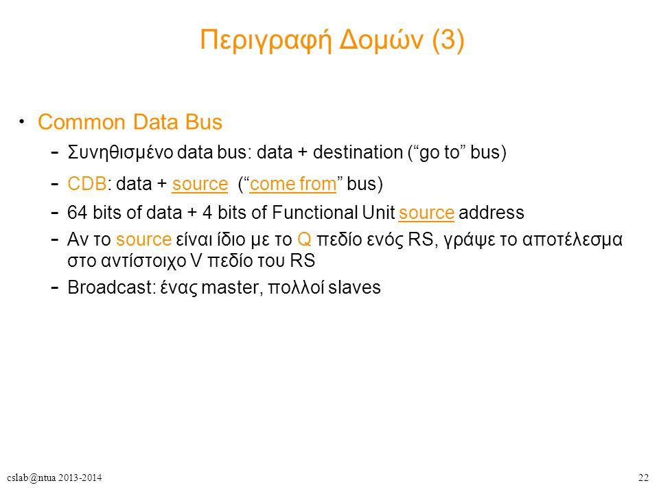 22cslab@ntua 2013-2014 Περιγραφή Δομών (3) Common Data Bus – Συνηθισμένο data bus: data + destination ( go to bus) – CDB: data + source ( come from bus) – 64 bits of data + 4 bits of Functional Unit source address – Αν το source είναι ίδιο με το Q πεδίο ενός RS, γράψε το αποτέλεσμα στο αντίστοιχο V πεδίο του RS – Broadcast: ένας master, πολλοί slaves