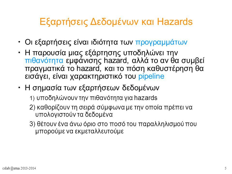 5cslab@ntua 2013-2014 Οι εξαρτήσεις είναι ιδιότητα των προγραμμάτων Η παρουσία μιας εξάρτησης υποδηλώνει την πιθανότητα εμφάνισης hazard, αλλά το αν θ
