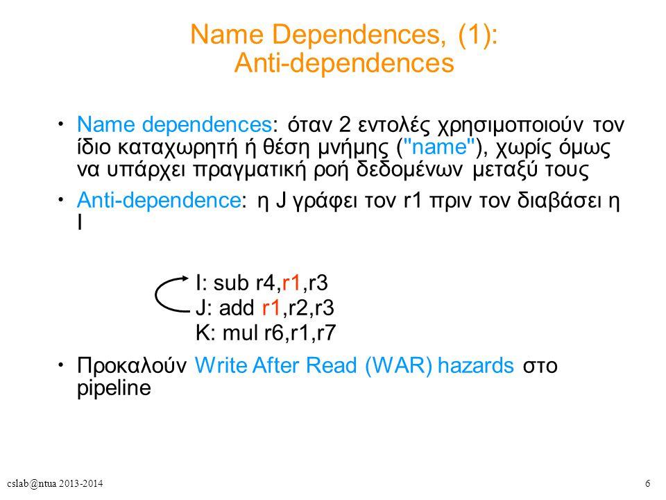 6cslab@ntua 2013-2014 Name dependences: όταν 2 εντολές χρησιμοποιούν τον ίδιο καταχωρητή ή θέση μνήμης ( name ), χωρίς όμως να υπάρχει πραγματική ροή δεδομένων μεταξύ τους Anti-dependence: η J γράφει τον r1 πριν τον διαβάσει η I Προκαλούν Write After Read (WAR) hazards στο pipeline I: sub r4,r1,r3 J: add r1,r2,r3 K: mul r6,r1,r7 Name Dependences, (1): Anti-dependences