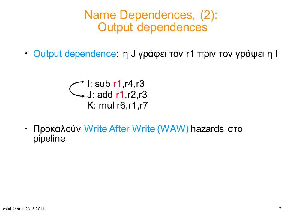 8cslab@ntua 2013-2014 ILP και Data Hazards Εξαιτίας των εξαρτήσεων πρέπει να διατηρούμε τη σειρά του προγράμματος σειρά προγράμματος: η σειρά με την οποία θα εκτελούνταν οι εντολές, αν επεξεργάζονταν σειριακά, μία κάθε φορά, όπως υπαγορεύεται από τον πηγαίο κώδικα του προγράμματος σκοπός HW/SW: να εκμεταλλευτούν τον παραλληλισμό, διατηρώντας τη σειρά προγράμματος όπου κάποια αλλαγή θα μπορούσε να επηρεάσει το αποτέλεσμα του προγράμματος